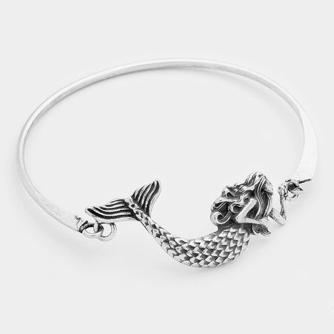 Mermaid Bracelet Thin Metal Hook Bangle Burnished Metal SILVER Sea Life