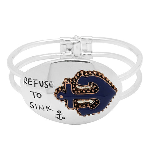 Refuse to Sink Bracelet Anchor Helm Boat Hinge Bangle Nautical Jewelry SILVER Sailor