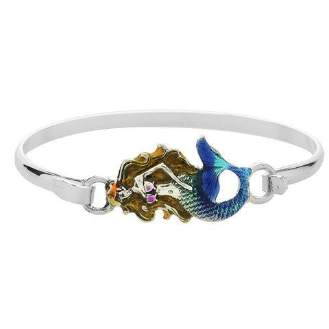 Mermaid Bracelet Hook Bangle Beach Surfer Jewelry SILVER BLUE