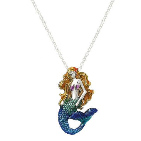 Mermaid Necklace Pendant Mesh Chain Beach Surfer Jewelry SILVER BLUE
