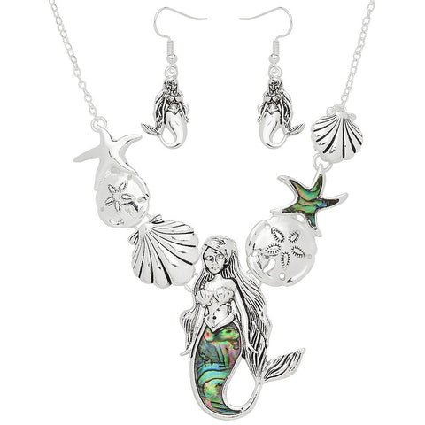 Abalone Shell Necklace SET Mermaid Statement Cluster Beach Ocean Sea SILVER