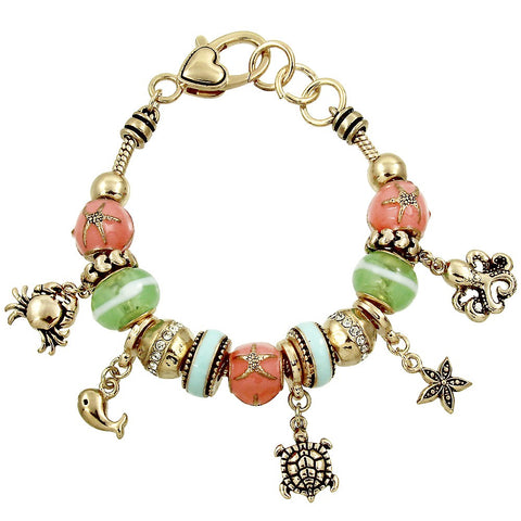 Sliding Bead Bracelet Beach Theme Starfish Sea Turtle Crab Charms GOLD