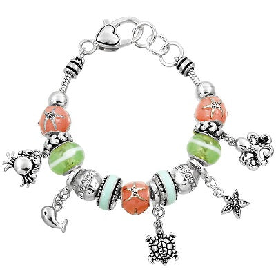 Sliding Bead Bracelet Beach Theme Starfish Sea Turtle Crab Charms SILVER