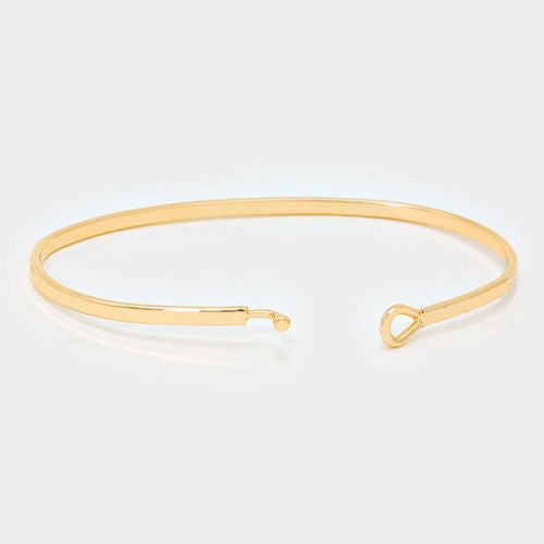 Follow Your Bliss Bracelet Thin Metal Bangle GOLD Inspirational Message Jewelry