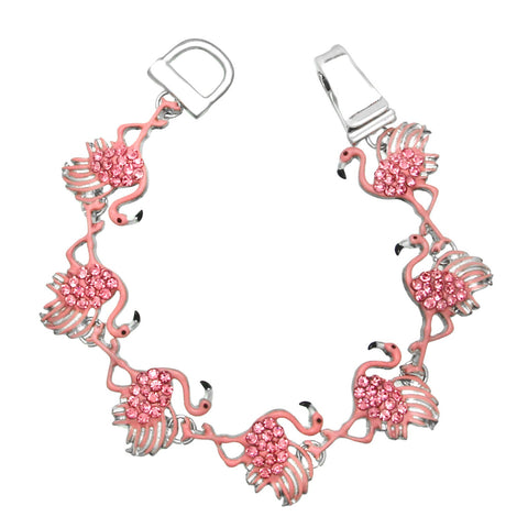 Flamingo Bracelet Magnetic Closure Pave Rhinestone Bird Sun Sand Florida PINK