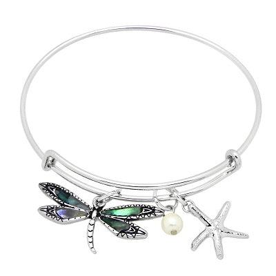 Dragonfly Bracelet Charm Bangle Sea Life Beach ABALONE SHELL Pearl SILVER