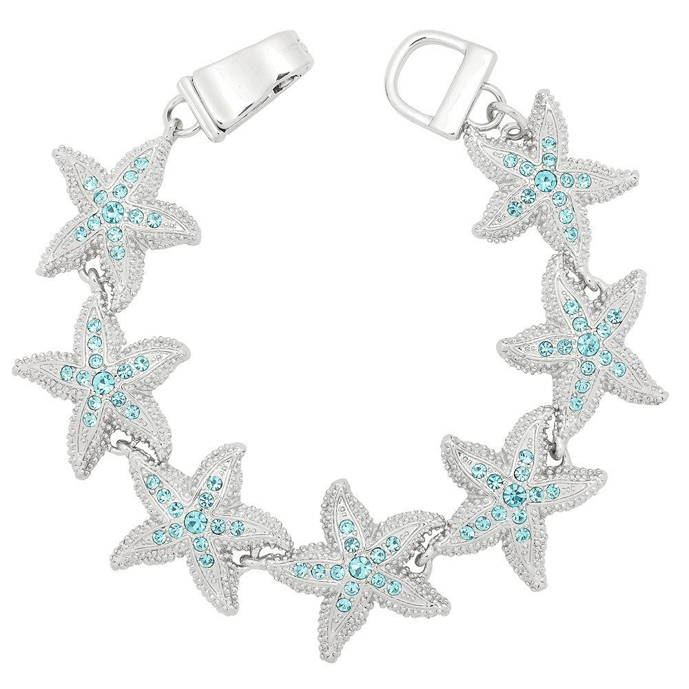 Magnetic Bracelet Starfish Link Pave Rhinestones Silver Turquoise Magnetic Clasp