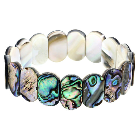 Abalone Shell Bracelet Oval Shape Stretch Bangle Sea Shell Beach Jewelry