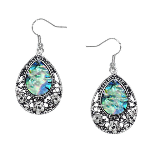 Abalone Shell Earrings Teardrop Sea Shell Drop Dangle SILVER Jewelry ST92