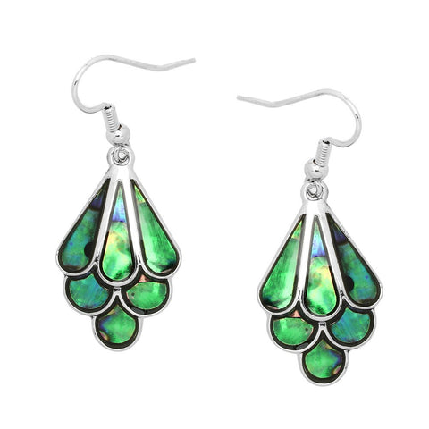 Abalone Shell Earrings Scallop Sea Shell Drop Dangle SILVER Jewelry ST78