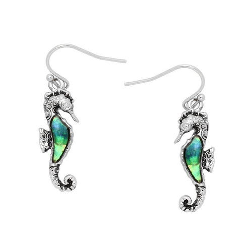 Sea Horse Earrings Abalone Shell Drop Dangle Sea Life SILVER Jewelry