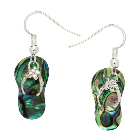 Flip Flop Earrings Abalone Shell Drop Dangle Hook Flower SILVER Sun Sand Toes