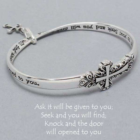 Ask Seek Knock Bracelet Mobius Bangle Religious Cross Prayer Matthew 7:7 SILVER