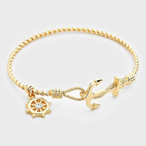 Anchor Bracelet Twisted Metal Nautical Beach Bangle Sailor Jewelry GOLD
