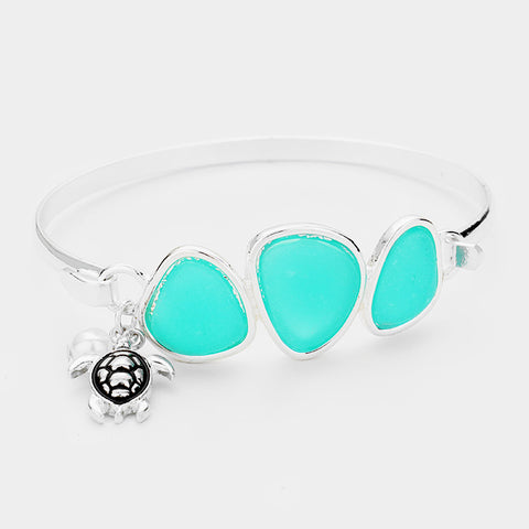 Sea Glass Bracelet Triple Bead Thin Hook Bangle Sea Turtle Charm Surf SILVER MI