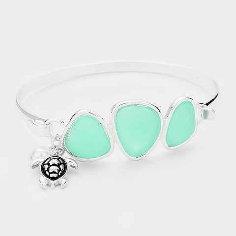 Sea Glass Bracelet Triple Bead Thin Hook Bangle Sea Turtle Charm Surf SILVER TQ