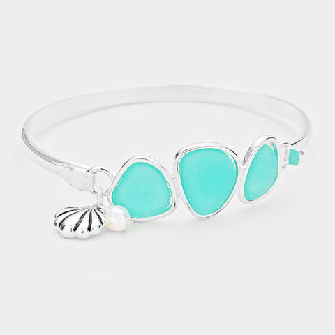 Sea Glass Bracelet Triple Bead Thin Hook Bangle Sea Shell Charm Surf SILVER MI