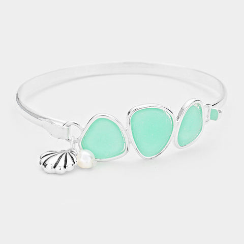 Sea Glass Bracelet Triple Bead Thin Hook Bangle Sea Shell Charm Surf SILVER TQ