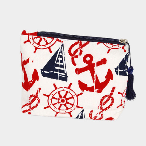 "Cosmetic Bag Anchor Sailboat Pouch 8x7"" Cotton Tassel Zipper Purse Makeup WHITE"