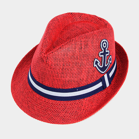 Anchor Hat Sun Hat Fedora Straw Beach Protection Tribly Nautical Sail Boat RED