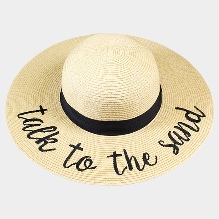 Sun Hat Talk to the Sand Floppy Wide Brim NATURAL Beach Surfer Sun Protection