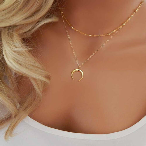 Lariat Necklace Y Drop Half Moon Beaded Layered Chains Crescent SILVER GOLD
