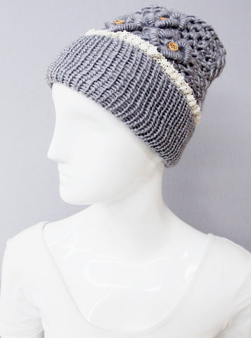 womens crochet hat wood buttons gray