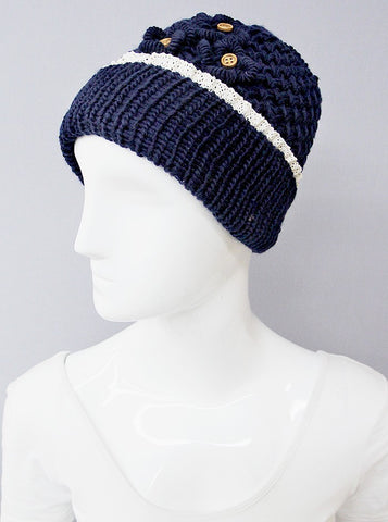 womens crochet hat wood buttons blue