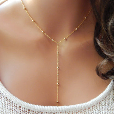 Lariat Necklace Thin Delicate Dainty Beaded Chain Y Drop Silver Gold