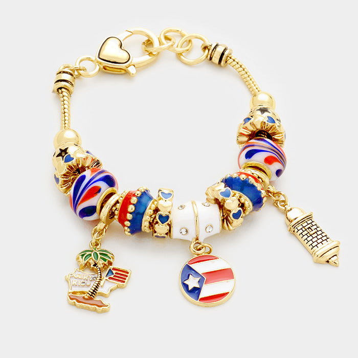 Puerto Rico Bracelet Sliding Beads Flag Lighthouse Charms Gold