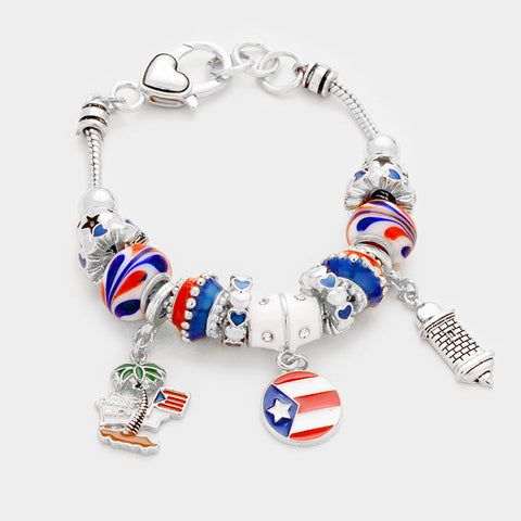 Puerto Rico Bracelet Sliding Beads Flag Lighthouse Charms SILVER