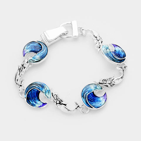 Wave Bracelet Circle Disc Mermaid Link Beach Surfer Jewelry SILVER BLUE