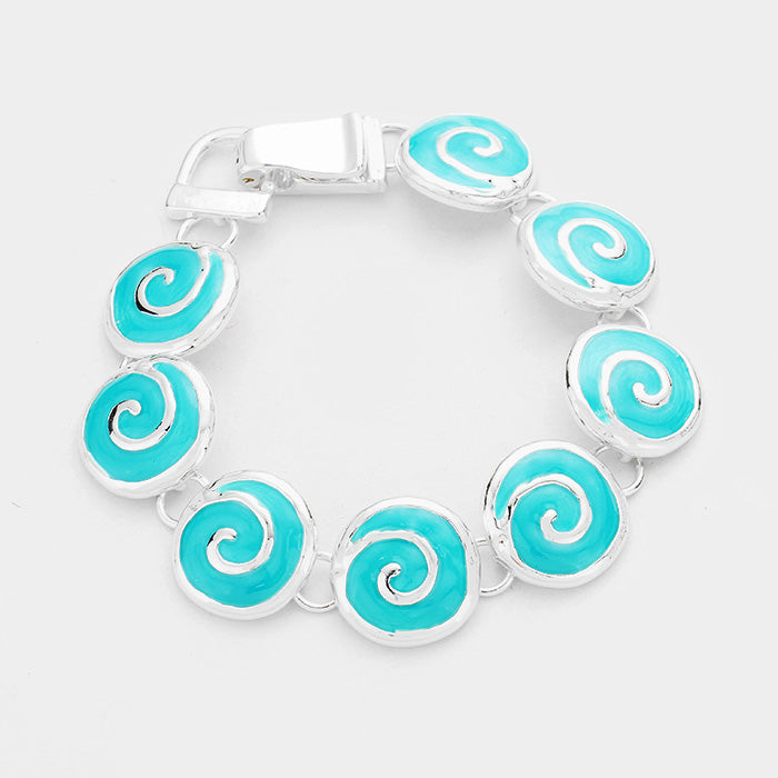 Wave Bracelet Circle Disc Link Beach Surfer Jewelry SILVER TURQ