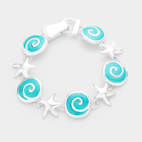 Wave Bracelet Circle Disc Starfish Link Beach Surfer Jewelry SILVER TURQ