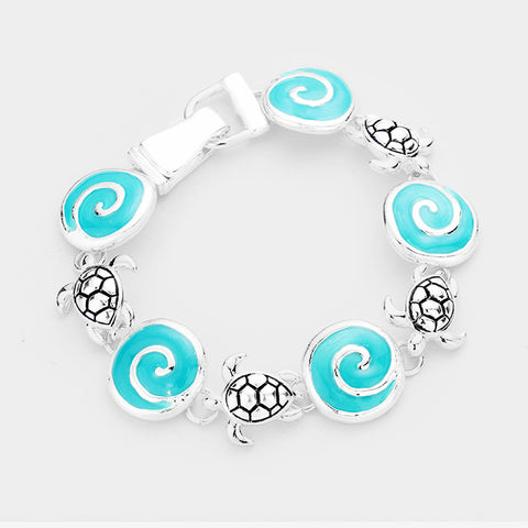 Wave Bracelet Circle Disc Sea Turtle Link Beach Surfer Jewelry SILVER TURQ