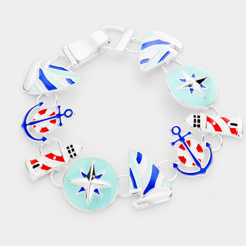 Anchor Bracelet Magnetic Closure Clasp Light House Star Sail Boat BLUE WHITE Nautical