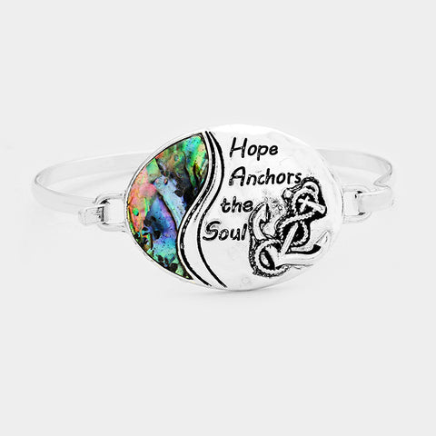 Hope Anchors the Soul Bracelet Anchor Helm Boat Hook Bangle Abalone Shell SILVER Sailor