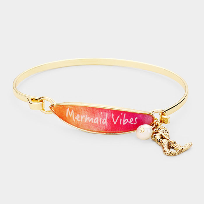 Surfboard Bracelet Mermaid Vibes Message Thin Hook Bangle Beach Surfing GOLD