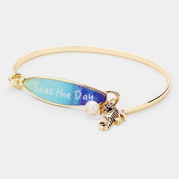 Surfboard Bracelet Seahorse Message Seas the Day Sea Life Beach Surfing GOLD