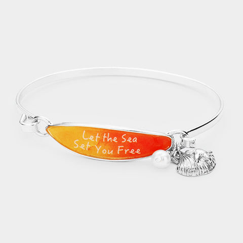 Surfboard Bracelet Shell Message Let the Sea Set you Free Beach Surfing SILVER