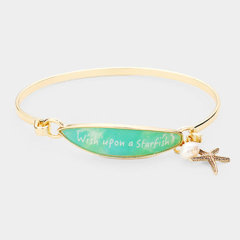 Surfboard Bracelet Starfish Message Wish Upon a Star Beach Surfing Sea Life GOLD