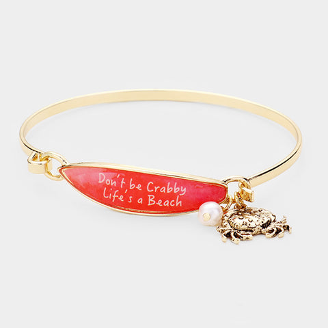 Surfboard Bracelet Crab Message Don't be Crabby Life's a Beach Sea Life GOLD