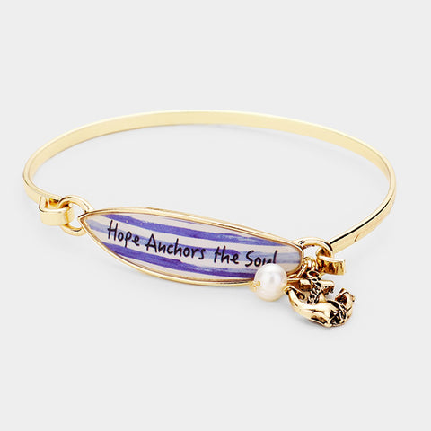 Surfboard Bracelet Anchor Message Hope Anchors the Soul Beach Sea Life GOLD