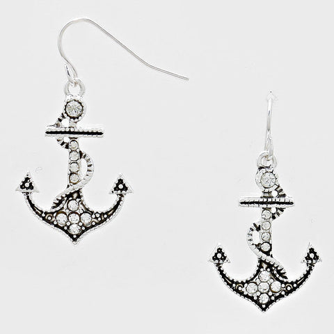 Anchor Earrings Pave Rhinestone Marcasite Detail Crystal Nautical Sailor Jewelry