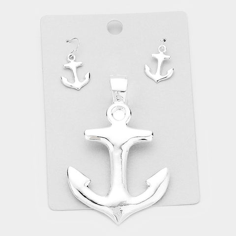 Anchor Pendant Earrings SET Beach Nautical Sealife Plain Solid SILVER Sailor Jewelry