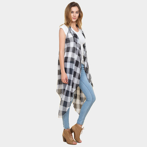 Vest Spring Summer Lightweight Buffalo Plaid Printed Wrap Around Shawl WHT BLACK