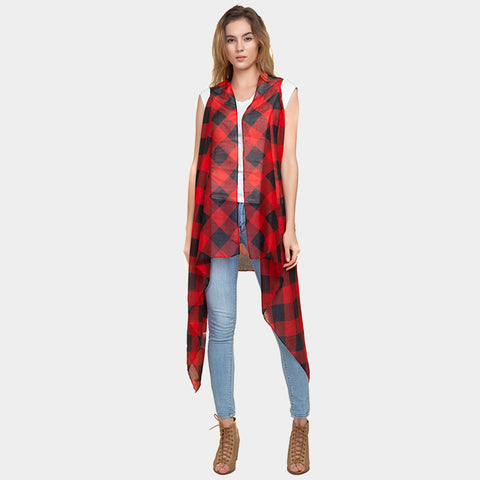Vest Spring Summer Lightweight Buffalo Plaid Printed Wrap Around Shawl RED BLACK