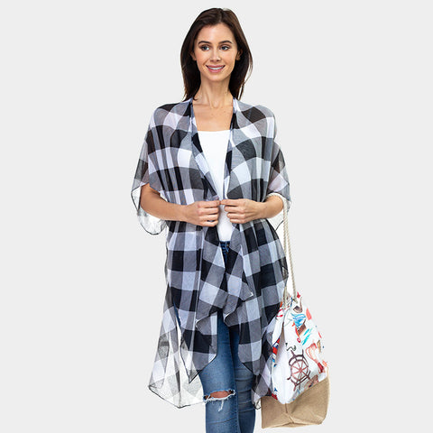 Cardigan Spring Summer Lightweight Buffalo Plaid Wrap Shawl Womens Top WHT BLACK