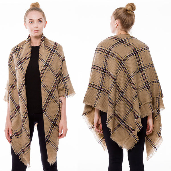 Blanket Scarf Plaid Soft Fabric Shawl Pashmina Wrap Around CAMEL