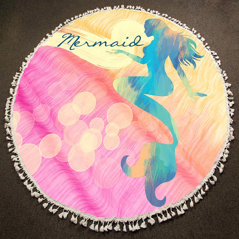 Round Beach Towel Fringe Edge Mermaide Bubble Swirl Sea Life PINK MULTI